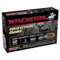 "Winchester Partition Gold 12 GA 3"" 385 Grain Sabot Slug Ammo (5)"