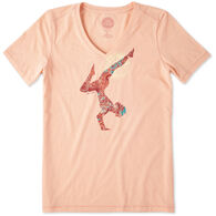 Life is Good Women's Yoga Inversion Cool Vee Short-Sleeve Shirt
