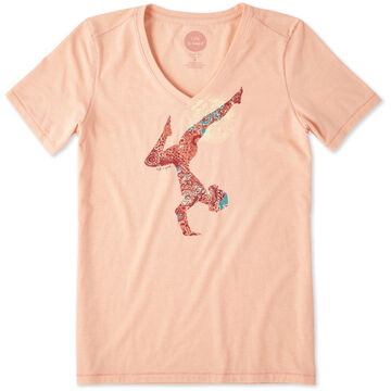 Life is Good Womens Yoga Inversion Cool Vee Short-Sleeve Shirt