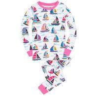 Hatley Girls' Little Blue House Pretty Sailboats Pajama Set