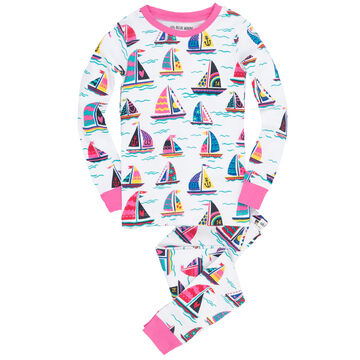 Hatley Girls Little Blue House Pretty Sailboats Pajama Set