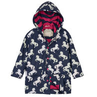 Hatley Toddler Girl's Playful Horses Color Changing Rain Jacket