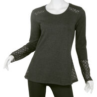 North River Women's Cotton Poly Waffle Knit Lace Long-Sleeve Shirt
