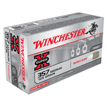 Winchester Super-X 357 Magnum 125 Grain WinClean JSP Handgun Ammo (50)