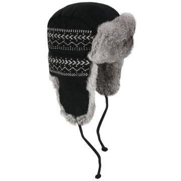 Crown Cap Men's Lambs Wool Wave-Knit Rabbit Trimmed Aviator