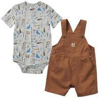 Carhartt Infant Boy's Canvas Shortall Set, 2-Piece