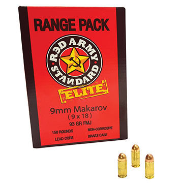 Red Army Standard 9 x 18mm Makarov 93 Grain FMJ Rifle Ammo Range Pack (150)