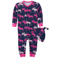 Hatley Infant Girl's Little Blue House Cottage Moose Baby Coverall with Hat