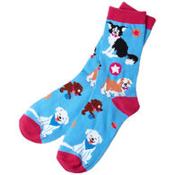 Hatley Little Blue House Women's Cute Pups Crew Sock