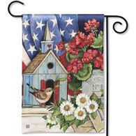 BreezeArt Patriotic Birdhouse Garden Flag