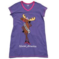 Lazy One Women's Moose America V-Neck Nightshirt