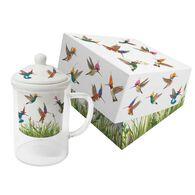 Paperproducts Design Meadow Buzz Glass Tea Mug w/ Lid & Strainer