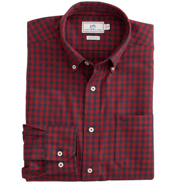 Southern Tide Mens Donner Gingham Performance Button Down Long-Sleeve Shirt
