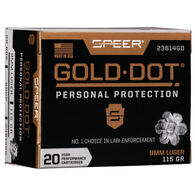 Speer Gold Dot Personal Protection 9mm Luger 115 Grain HP Handgun Ammo (20)