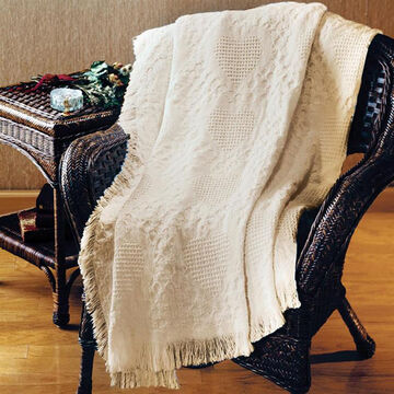 Manual Woodworkers & Weavers Basket Weave Hearts Two Layer Throw