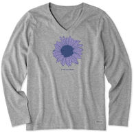 Life is Good Women's French Sunflower Crusher-Lite Long-Sleeve T-Shirt