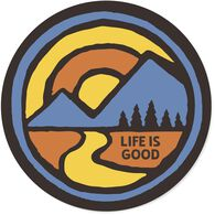 "Life is Good Color Block Mountains 4"" Circle Sticker"