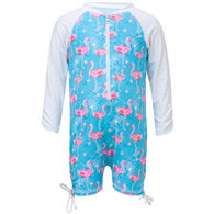 Snapper Rock Swimwear Infant/Toddler Girl's Blue Flamingo Long-Sleeve Sunsuit