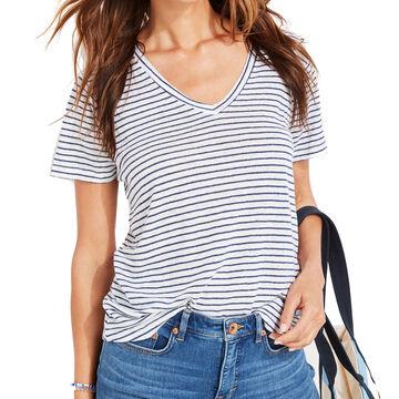 Vineyard Vines Womens Striped Linen V-Neck Short-Sleeve Shirt