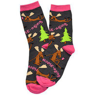 Lazy One Women's Text Moose-aging Crew Sock