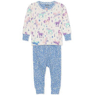 Hatley Infant Girl's Playful Ponies Organic Cotton Baby Pajama Long-Sleeve Set