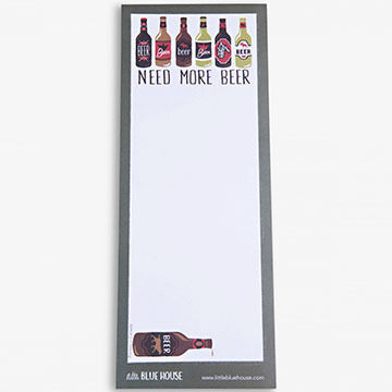 Hatley Little Blue House Need More Beer Magnetic List Notepad