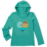 Life is Good Girl's Clean Beach Heart Hooded Smooth Long-Sleeve Shirt