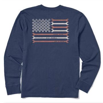 Life is Good Mens Work Hard America Crusher Long-Sleeve T-Shirt