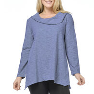 Habitat Women's Micro Stripe Cowl Neck Long-Sleeve Shirt