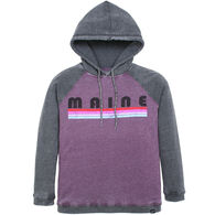 Techstyles Women's Maine Linear Letter Hooded Sweatshirt