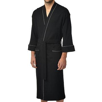 Majestic International Mens Knit Waffle Kimono Robe