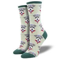 Socksmith Design Women's Snazzy Schnauzer Crew Sock