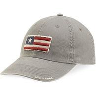 Life is Good Men's Three Stripe Flag Tattered Chill Cap - Slate Gray