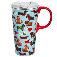 Evergreen Festive Fido's Ceramic Travel Cup w/ Lid
