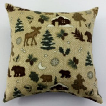 "Moosehead Balsam Fir 5"" x 5"" Flannel Moose & Bear Pillow"