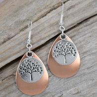 Eye Catching Jewelry Women's Silver & Copper Tree of Life Earring