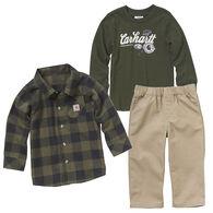 Carhartt Infant Boy's Flannel Long-Sleeve Shirt 3-Piece Set