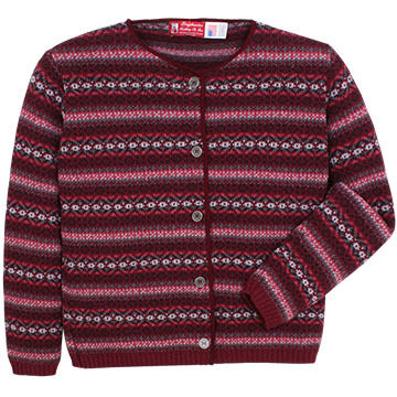 Binghamton Knitting Womens Jacquard Cardigan Sweater