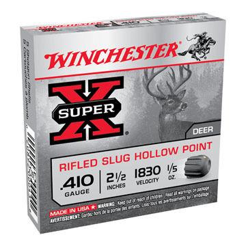 "Winchester Super-X 410 GA 2-1/2"" 1/5 oz. Rifled Slug Ammo (5)"