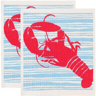 Rockflowerpaper Red Lobster Eco Friendly Blu Dish Cloth - 2 Pack