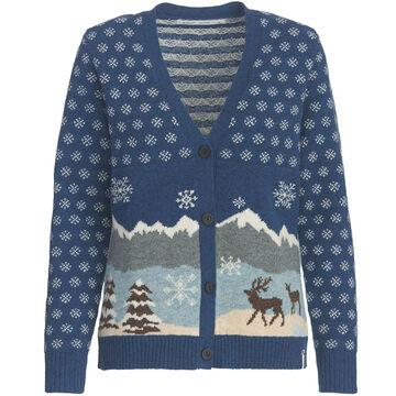Woolrich Womens Chimney Peak Holiday Motif Cardigan