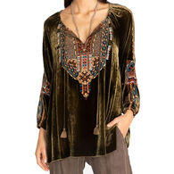 Johnny Was Women's Naomi Velvet Peasant Long-Sleeve Top