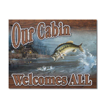 Desperate Enterprises Cabin Welcome All Tin Sign