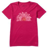 Life is Good Women's Watercolor Daisy Crusher Vee Short-Sleeve T-Shirt