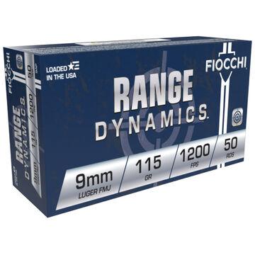 Fiocchi Range Dynamics 9mm Luger 115 Grain FMJ Handgun Ammo (50)