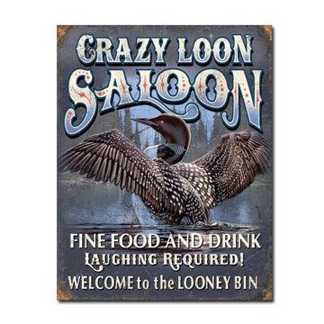 Desperate Enterprises Crazy Loon Saloon Tin Sign