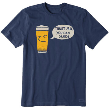 Life is Good Mens Trust Me You Can Dance Beer Crusher Short-Sleeve T-Shirt