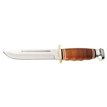 KA-BAR Leather Handle Marine Hunter Fixed Blade Knife
