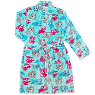 Candy Pink Girl's French Bulldog Fleece Robe