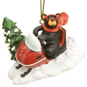 Big Sky Carvers Snowmobiler Bear Ornament